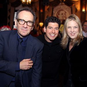 Danny Bacher with Elvis Costello and Diana Krall after recent performance at the New York Friars' Club. Photo courtesy of David Allan Kogut